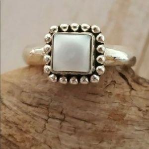 Rare Silpada square pearl and silver ring